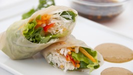 Vegetable Spring rolls with Spicy Peanut Sauce and Garlic Sauce