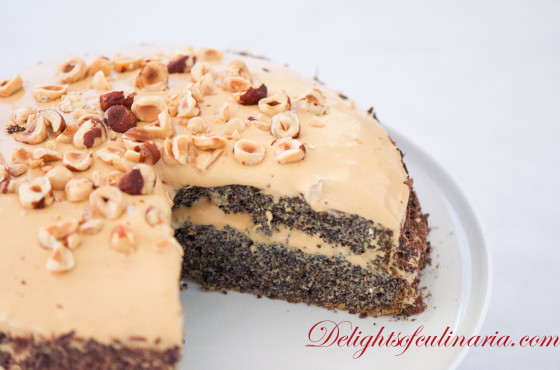 poppy seed walnut cake with dulce de leche frosting