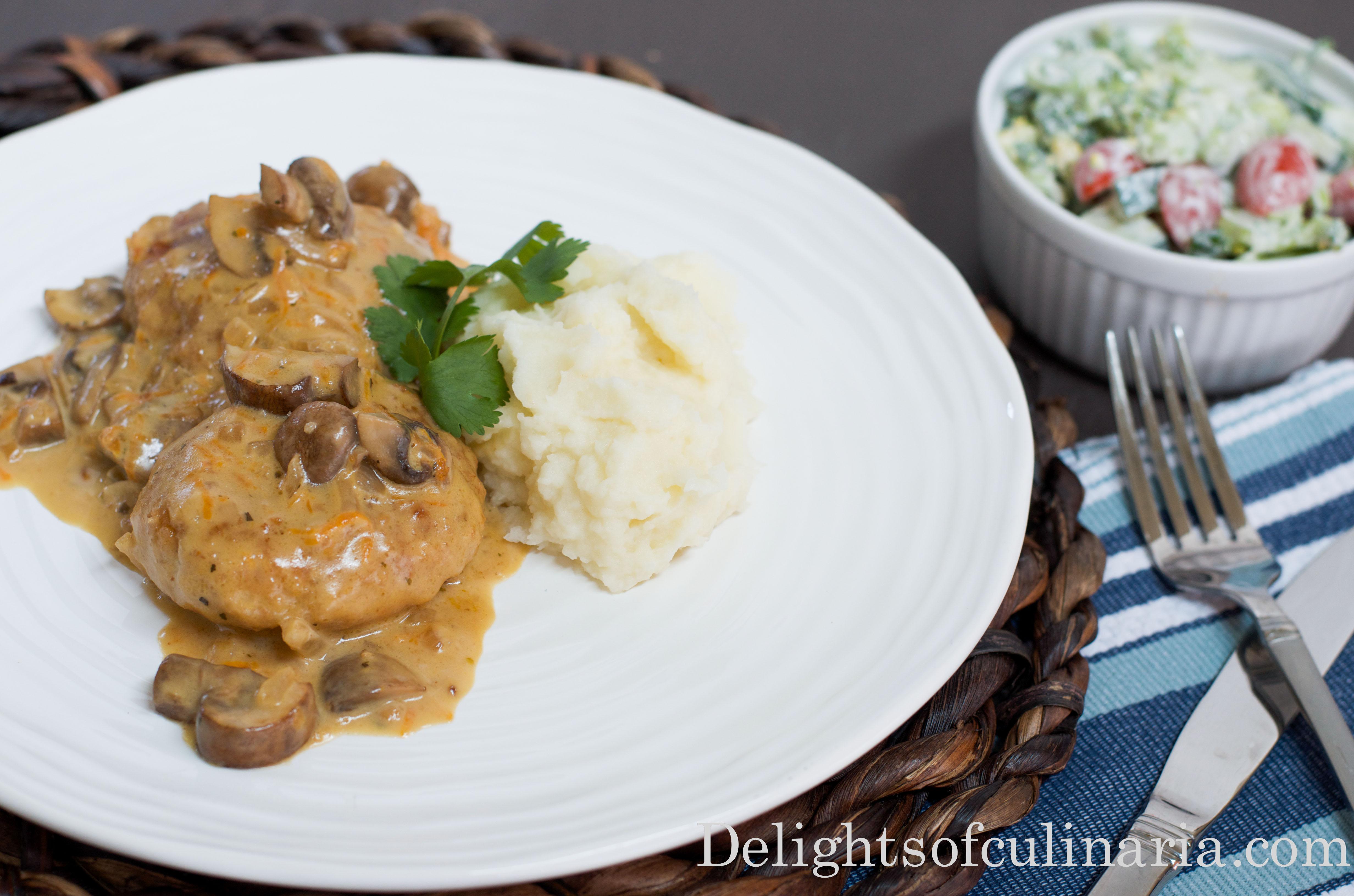 Chicken Kotleti in mushroom sauce