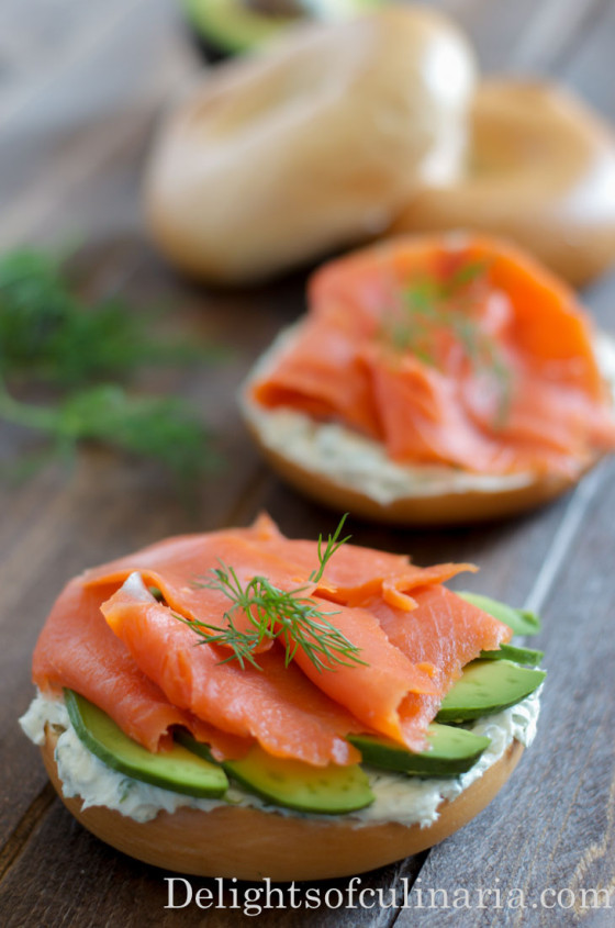 open face bagel sandwich with smoked salmon-2
