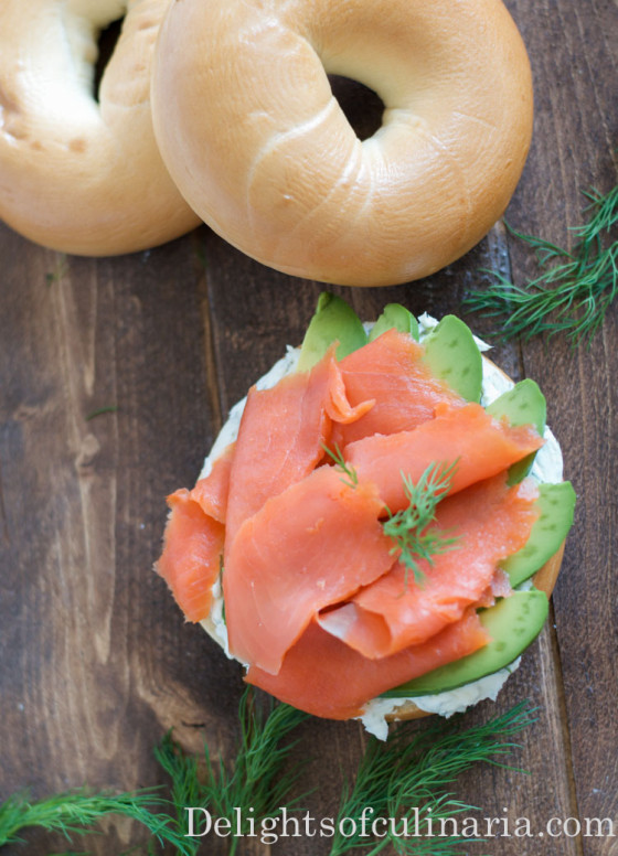 open face bagel sandwich with smoked salmon-3